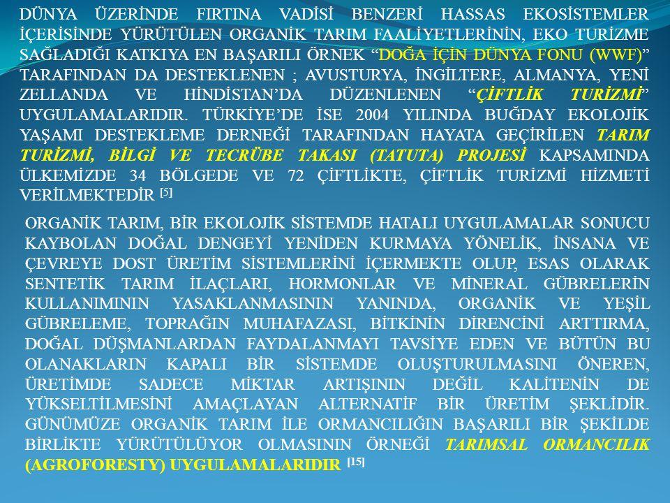 DÜNYA ÜZERİNDE FIRTINA VADİSİ BENZERİ HASSAS EKOSİSTEMLER İÇERİSİNDE YÜRÜTÜLEN ORGANİK TARIM FAALİYETLERİNİN, EKO TURİZME SAĞLADIĞI KATKIYA EN BAŞARILI ÖRNEK DOĞA İÇİN DÜNYA FONU (WWF) TARAFINDAN DA DESTEKLENEN ; AVUSTURYA, İNGİLTERE, ALMANYA, YENİ ZELLANDA VE HİNDİSTAN'DA DÜZENLENEN ÇİFTLİK TURİZMİ UYGULAMALARIDIR. TÜRKİYE'DE İSE 2004 YILINDA BUĞDAY EKOLOJİK YAŞAMI DESTEKLEME DERNEĞİ TARAFINDAN HAYATA GEÇİRİLEN TARIM TURİZMİ, BİLGİ VE TECRÜBE TAKASI (TATUTA) PROJESİ KAPSAMINDA ÜLKEMİZDE 34 BÖLGEDE VE 72 ÇİFTLİKTE, ÇİFTLİK TURİZMİ HİZMETİ VERİLMEKTEDİR [5]